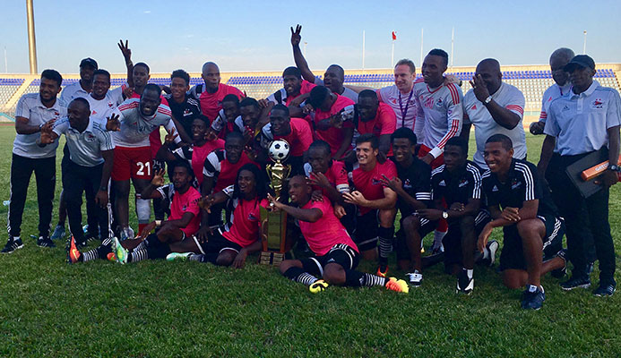 Central FC players and staff celebrate their third consecutive Digicel Pro League crown following a 1-0 win over San Juan Jabloteh at the Ato Boldon Stadium on Feb. 5, 2017.