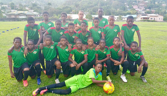 Photo: Proud members of the San Juan Jabloteh U13 team ahead of their 4-1 win over Police FC in the Flow Youth Pro League at San Juan North Secondary school ground in Bourg Mulatresse on June 11, 2017.