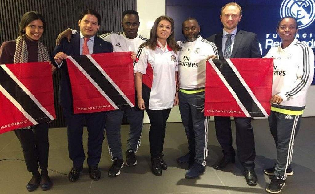 COURSE COMPLETE: From left, Anne Lise Bayo, America Project Officer Real Madrid Foundation (RMF); Mateo Figueroa, America Area Manager RMF; Ron La Forest, Ron La Forest Soccer Academy; Rosa Roncal, International Manager RMF; Clint Marcelle, Clint Marcelle Football Academy; David Gil, International Manager of Football and Training RMF; and Kathy Marcelle, Clint Marcelle Football Academy.