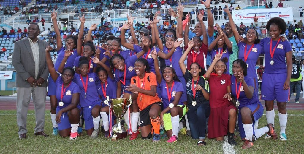 CELEBRATIONS Members of the Pleasantville Secondary School captured the Girls Intercol National football title after they defeated Signal Hill Secondary 2-0 at the Ato Boldon Stadium, Couva, yesterday.