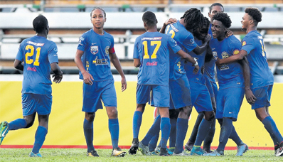 Shiva Boys players celebrate a goal during their opening fixture in the 2017 SSFL against Naparima College at the Ato Boldon Stadium, Couva on September 8. Shiva boys won the match 2-1.
