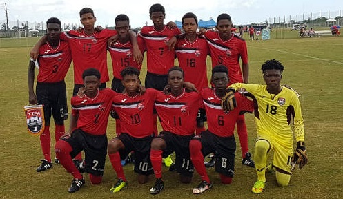 Photo: Trinidad and Tobago National Under-15 Team poses at the 2017 CONCACAF Championships. (Back row, left to right) Darian Bradshaw, Justin Araujo-Wilson, Adriel George, Jean-Heim Mc Fee, Marc Wharfe, Cephas St Rose. (Front row, left to right) Randy Antoine, Josiah Edwards, Jaiye Sheppard, Jabari Lee and Kernel La Fon.