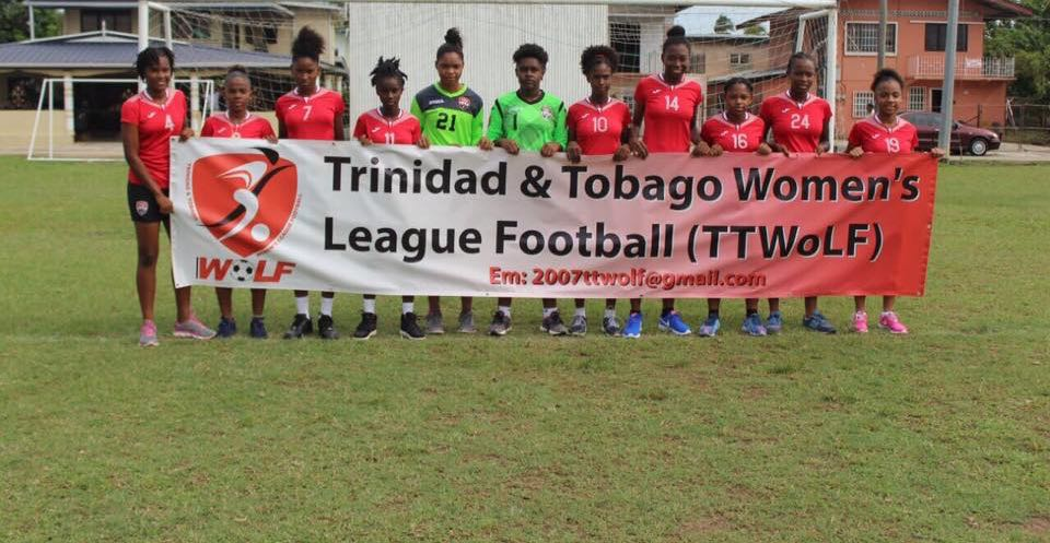 Members of the T&T Under 17 Women's Team at the opening of the Women's League 2017.
