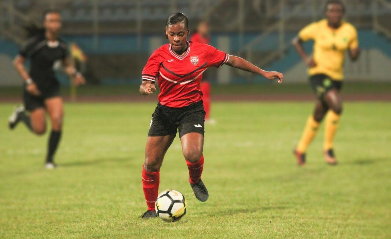 Goalscorer Laurelle Theodore on the move