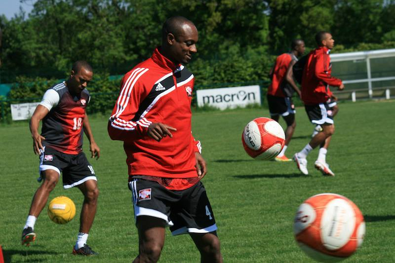 Justin Hoyte in his first training session with the Trinidad and Tobago National Team — in Crawley, England. (PHOTO: TTFF MEDIA).