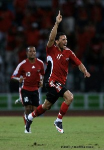 #11 Carlos Edwards celebrates his goal vs Costa Rica