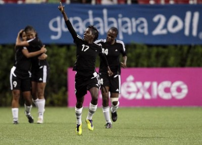 Kennya Cordner celebrates her goal for T&T.