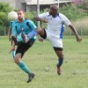 Westside Superstarz midfielder Troy Thompson, left, attempts to control the ball under pressure from WASA FC defender Kevon Henry, during the blink/bmobile National Super League rescheduled match. Photo: Anthony Harris