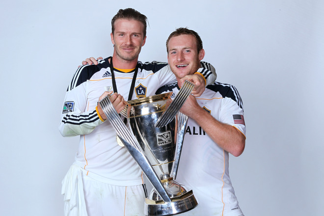 Birchall, Beckham celebrate Galaxy win.
