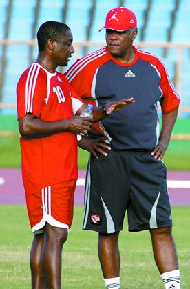 Head coach Russell Latapy and former T&T coach Francisco Maturana who, attended the T&T vs El Salvador game.