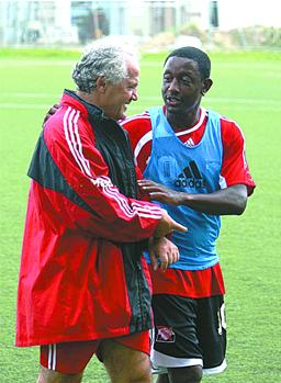 Soca Warriors interim coach, Russell Latapy, right and his assistant Zoran Vranes