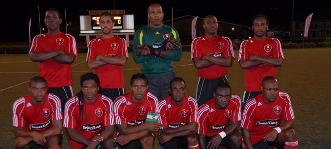 BACK ROW - From Left: - Trevin Caesar, Kerry Noray, Clayton Ince, Cyd Gray, Nigel Daniel, FRONT ROW - From Left: - Shandel Samuel, Leslie Fitzpatrick, Coneal Thomas (capt), Rennie Britto, Aquil Selby, Lyndon Andrews.