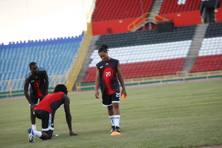 Shahdon Winchester trains with T&T senior team (Photo credit: tnttimes.com).
