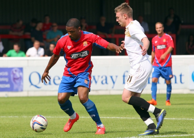 Andre Boucaud in action for the Daggers in the 4-3 pre-season friendly defeat to Colchester United.