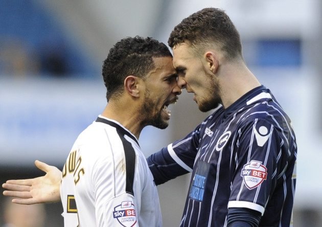 Things turn ugly between Millwall's Scott Malone and Carlos Edwards at The New Den.