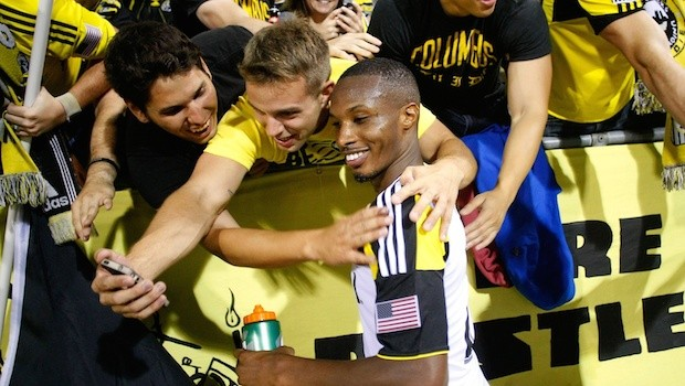 Kevan George with Columbus Crew fans