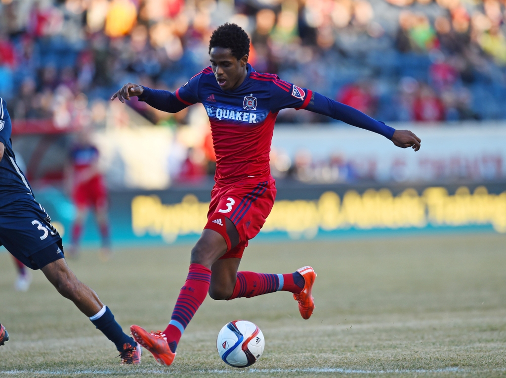 Mar 14, 2015; Chicago, IL, USA; Chicago Fire defender Joevin Jones (3) kicks the ball against the Vancouver Whitecaps during the second half at Toyota Park. The Vancouver Whitecaps defeat the Chicago Fire 1-0. Mandatory Credit: Mike DiNovo-USA TODAY Sports