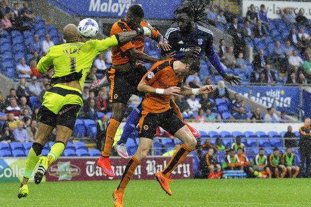 Kenwyne Jones heads Cardiff in front against Wolves