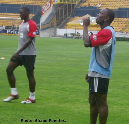 From left Kenwyne Jones and Dwight Yorke in training for T&T.