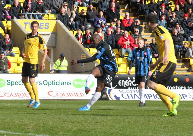 Hamilton striker Jason Scotland smashes in an equaliser at Livingston to salvage a point