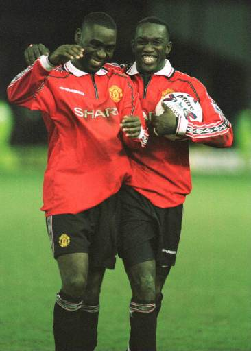 Andy Cole and Dwight Yorke in better days.
