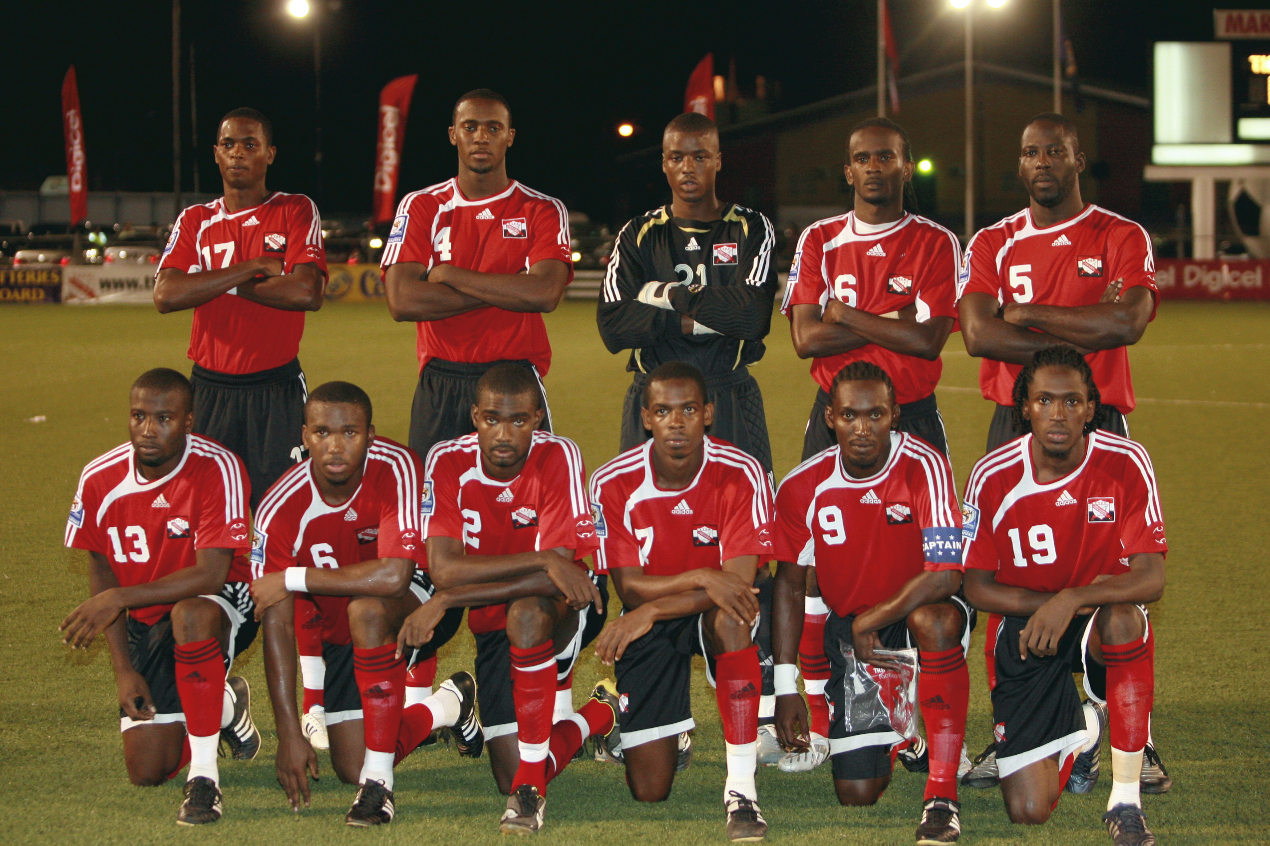 T&T Team line up vs Antigua (Photo: Digicelfotball.com).
