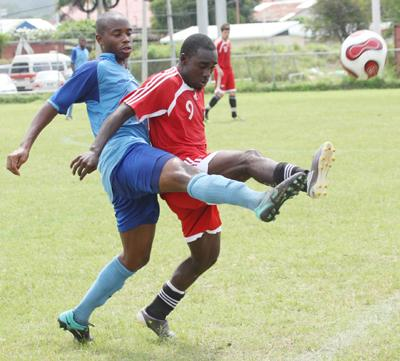 #9 - Trevin Caesar in action for T&T vs Police FC (T&T Guardian Photo).