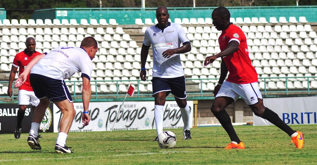 Representing Man Utd, Tobago's Dwight Yorke in action at the 2015 British Airways Tobago Legends Classic, held in the sister isle on June 20-21. --Photo: Ian Prescott.