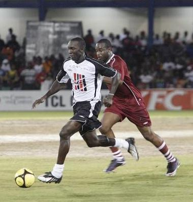 Yorke in action for the Strike Squad in a charity match vs the West Indies team.