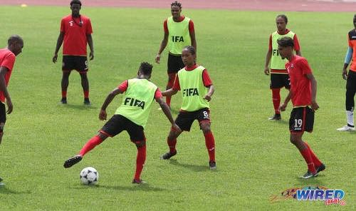 Photo: Newcomers Judah Garcia (#8, centre) and Justin Sadoo (#19, right) try to impress during training at the Ato Boldon Stadium in Couva on 15 April, 2018. (Copyright Chevaughn Christopher/Wired868)