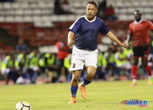 "Photo: Commissioner of Police Gary Griffith in action during the ""Football for a Cause"" charity match at the Hasely Crawford Stadium on 26 October 2018. (Copyright Nicholas Bhajan/CA-Images/Wired868)"