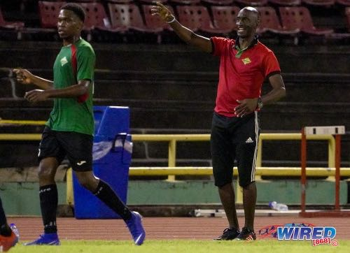 Photo: San Juan Jabloteh technical director Keith Jeffrey (right) passes on instructions during Pro League action against AC POS at the Hasely Crawford Stadium on 21 January 2020. (Copyright Daniel Prentice/CA-Images/Wired868)