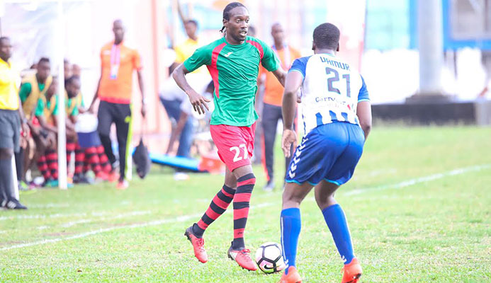 Flashback: San Juan Jabloteh winger Nathan Lewis (#27) during a 4-1 win over Club Sportif Moulien in the first round group stage of the 2017 Caribbean Club Championship at Victoria Park in Kingstown, St. Vincent on 10 Mar. 2017.