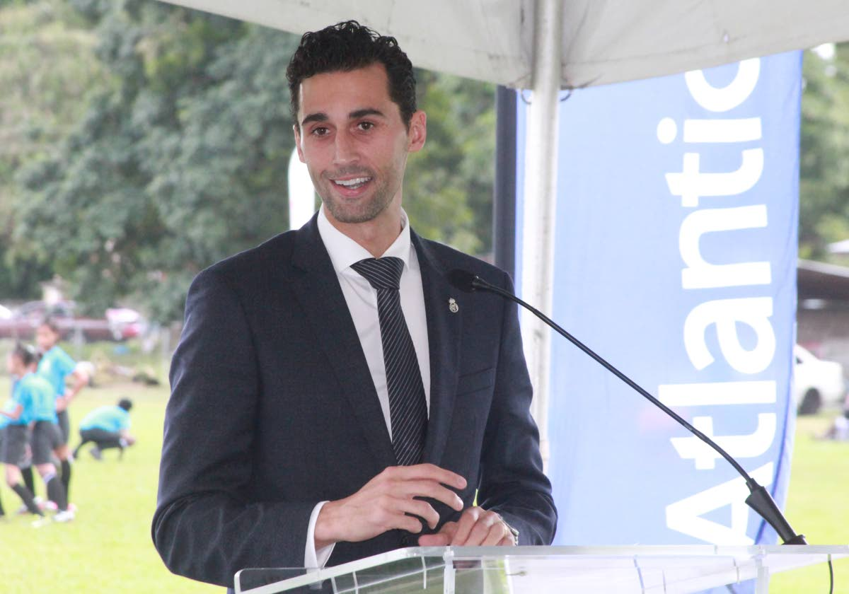 Former Span and Real Madrid footballer Alvaro Arbeloa, now a Real Madrid Foundation Ambassador speaks to young football fans at the St Mary's College Grounds, Port of Spain, yesterday.