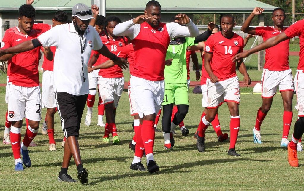 Members of the T&T senior men's football team go through a drill session during a practice at the Hasely Crawford Stadium, Mucurapo on yesterday. The team is preparing for a number of international tournament starting in the first quarter of 2021. - ANTHONY HARRIS