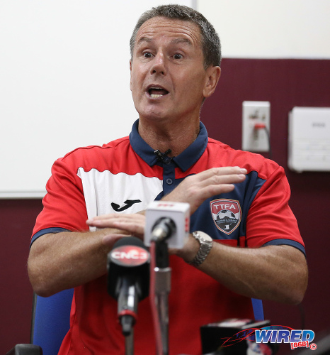 Photo: Trinidad and Tobago Men's National Senior Team head coach Terry Fenwick gestures to the media after training at the Police Barracks in St James on 3 July 2020. (Copyright Allan V Crane/CA-Images/Wired868)