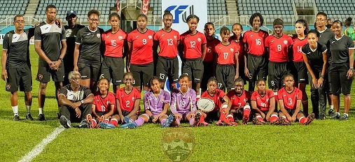 The T&T u-14 players and staff of the just concluded CFU 2019 Girls' U-14 Challenge Series. ...Daniel K. Prentice
