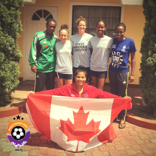International players meet: Tynetta McCoy, from left, St Kitts/Nevis; Jessica Adams, Emily Marie Cota, Zaudita Kaza-Amlak, US Virgin Islands; Shanice Stephenson, Barbados; Alyssa Budhoo, Guyana/Canada are here to be part of the Women's Premier League. —Photo: Women's Premier League T&T