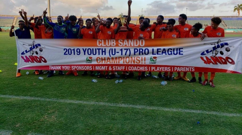 FLASHBACK: In this file photo, Club Sando's U-17 team celebrate after winning the 2019 Youth Pro League.