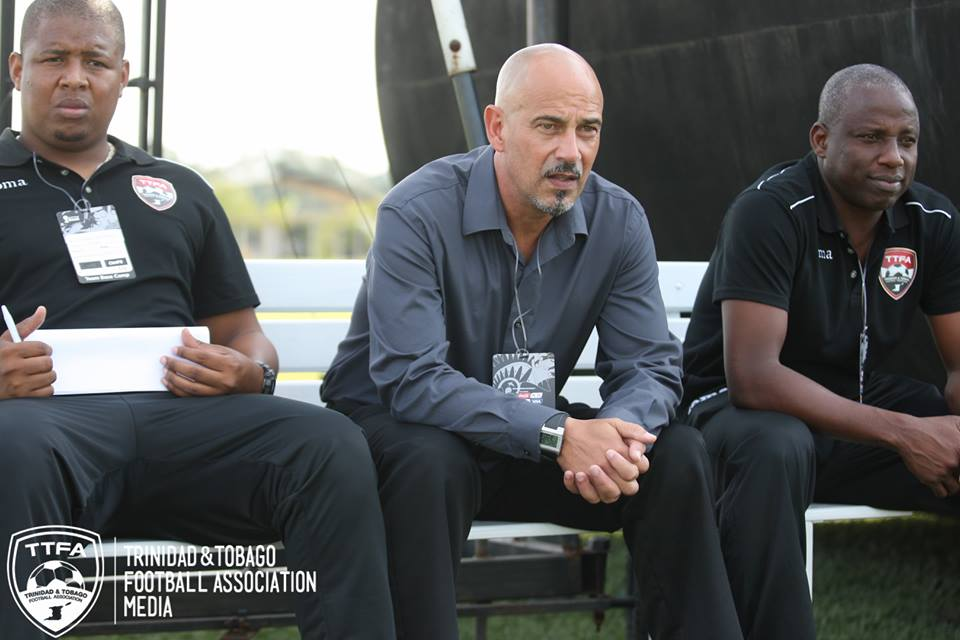 Former T&T coaches from left: Derek King, Stephen Hart and Hutson Charles