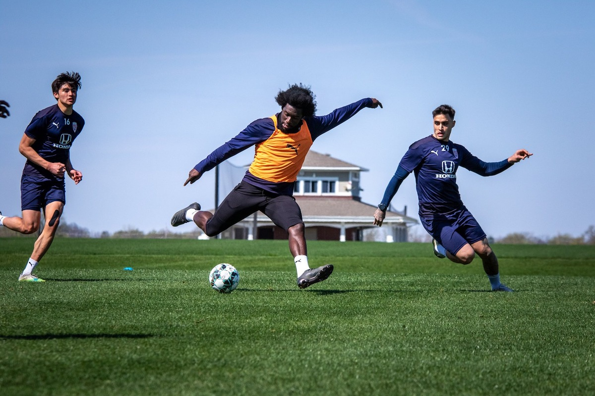 Indy Eleven's Neveal Hackshaw during 2021 preseason training