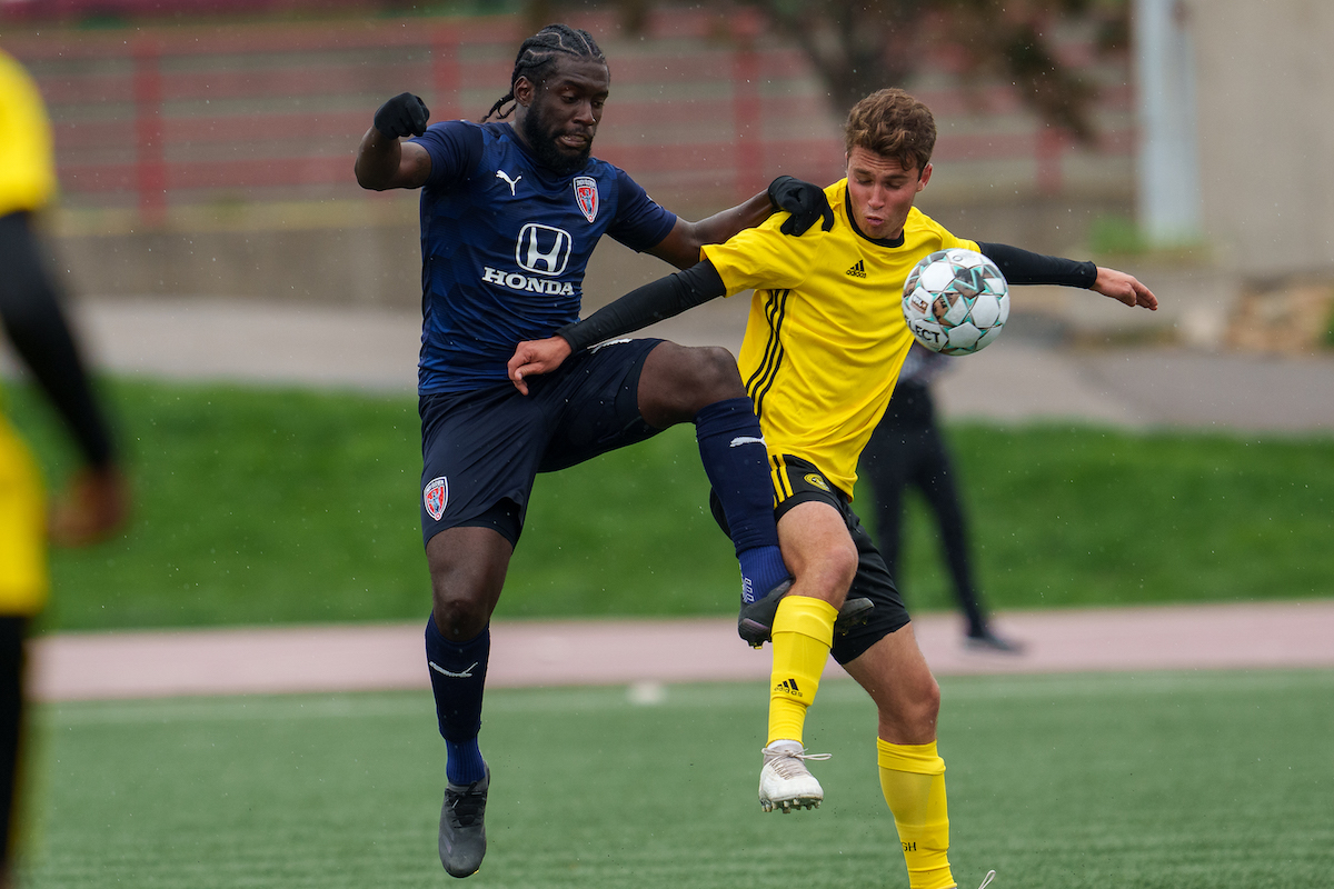 Neveal Hackshaw in action during a USL Championship match between Indy Eleven and Pittsburgh Riverhounds on April 24th 2021.