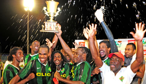 San Juan Jabloteh celebrates victory (By: Randy Bando (ttproleague).