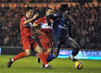 Kenwyne Jones doubled teamed.