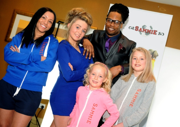Collin Samuel with, left to right, Tanith Anderson, Rachel Bomme, Edyn Richford and Erin Richford