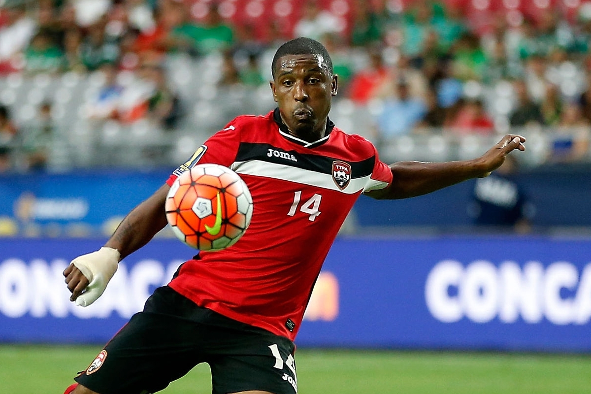 GLENDALE, AZ - JULY 12: Andre Boucaud #14 of Trinidad & Tobago shoots the ball during the 2015 CONCACAF Gold Cup group C match against Cuba at University of Phoenix Stadium on July 12, 2015 in Glendale, Arizona. Trinidad & Tobago defeated Cuba 2-0. (Photo by Christian Petersen/Getty Images)