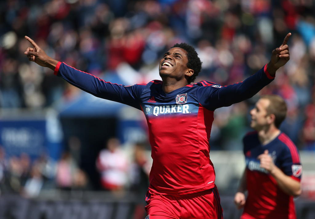 Joevin Jones #3 of the Chicago Fire celebrates a first half goal against Toronto FC during an MLS match at Toyota Park on April 4, 2015 in Bridgeview, Illinois. (Source: Jonathan Daniel/Getty Images North America)