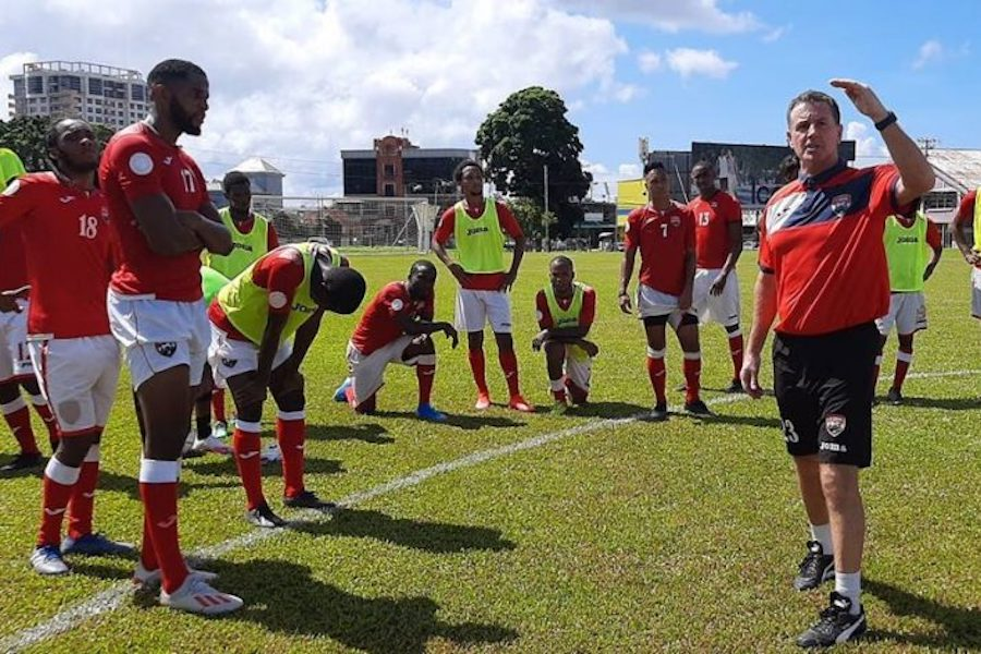 National football coach Terry Fenwick talks to his players during a training session at Police Barracks, St James, last Wednesday, November 11th 2020. PHOTO: TTFA Media