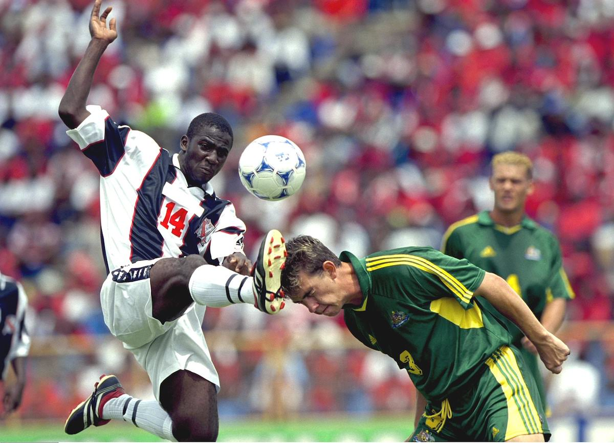 Football FIFA U-17 World Championship Trinidad and Tobago 2001, group A, Australia vs Trinidad and Tobago, Hasely Crawford Stadium, Port of Spain, September 16th 2001. Australia's Matthew Hunter is challenged by Trinidad and Tobago's Andre Alexis. Mandatory Credit: Action Images /John Sibley