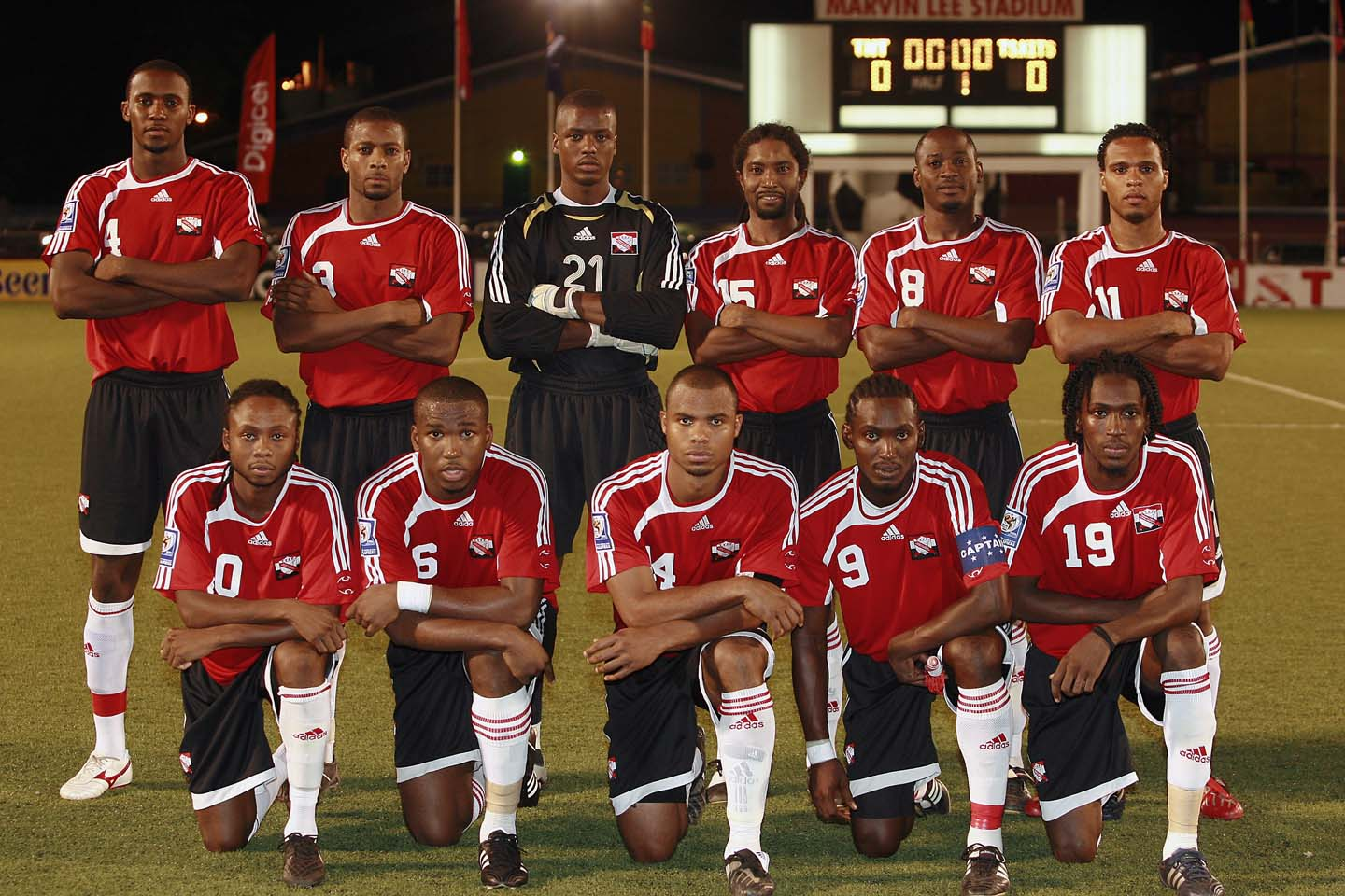 T&T Team line up before St Kitts game (Photo: Digicelfootball.com).